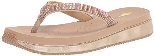 Volatile Women's Thong Wedge Sandal, Rosegold, 10
