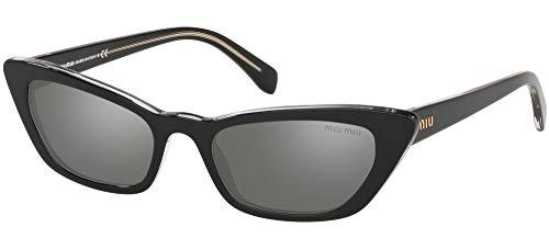 Miu Miu Damen 0MU 10US Sonnenbrille, Black/Dark Grey, 53