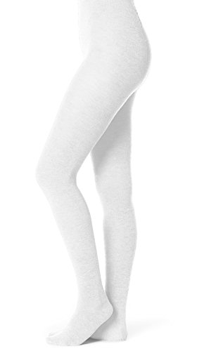 EMEM Apparel Girls' Kids Children's Junior's Flat Knit Bamboo Cotton Sweater Winter School Uniform Opaque Footed Tights Hosiery Stockings White A
