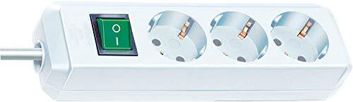 Brennenstuhl Eco-Line regleta de enchufes con 3 tomas de corriente (cable de 3 m, interruptor) blanco