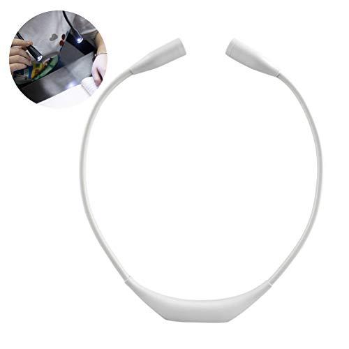 Mlamat LED-Hals-Leselampe, tragbare LED-Hals-Leselampe, zum Aufhängen, Leselampe, Leselampe, für entspanntes Lesen im Bett, für Bücherwürmer, Kinder, Basteln weiß