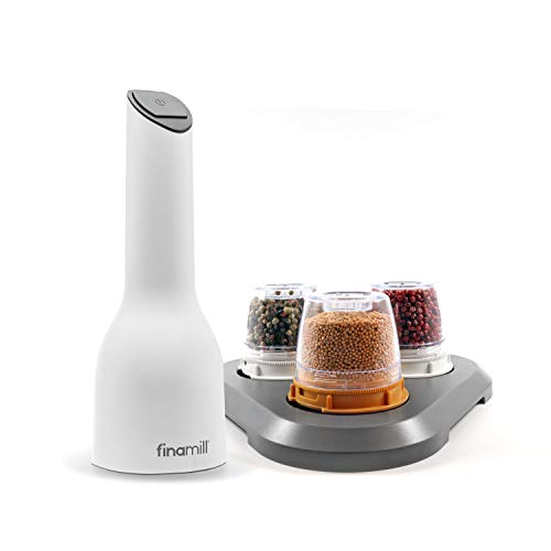 FinaMill - Award Winning Battery Operated Spice Grinder Gift Pack - includes 3 Quick - Change Spice Pods and 1 Stackable Tray - Perfect Gift for any Home Chef_White