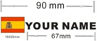 Pegatina vinilo impreso para coche, moto, bici, pared, puerta, nevera, carpeta, etc. 1ud Bandera + 1ud nombre personalizado