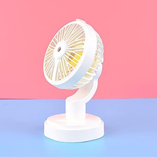 xingguang Ventilador de mano nuevo humidificador de verano mini ventilador USB recargable de agua con batería de litio para oficina, hogar, mesa redonda y pedestal (color: blanco)
