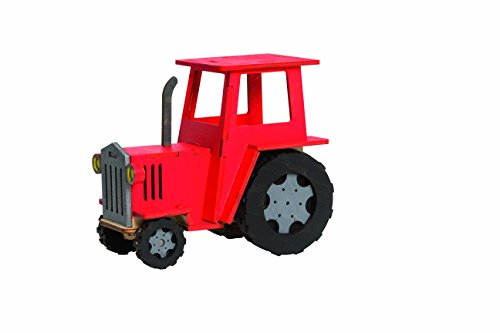 Drechslerei Kuhnert - Anspruchsvolles Hobaku Bastelset - Motiv: Traktor - Maße: 13x8x11cm - kein Spielzeug - Made in Germany