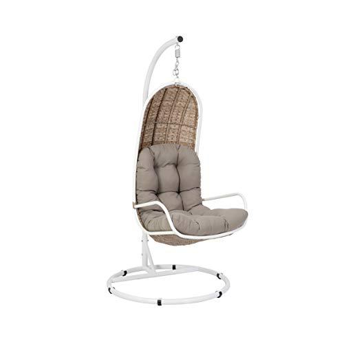 Ribelli Rattan Hangstoel, ca. Ø103 x 205 cm in wit/bruin/grijs, hangmand, hangstoel, hangschommel, hangstoel, rotanstoel.