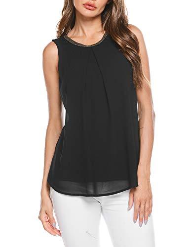 FINEJO Damen Sommer Chiffonbluse Ärmelloses Shirt T-Shirt Chiffon Bluse ohne Ärmel Blusentop Schwarz XL