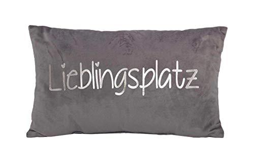 Couchkissen Dekokissen Sofakissen | Polyester | Grau-Silberfarben | 50x30 cm | Samtoptik