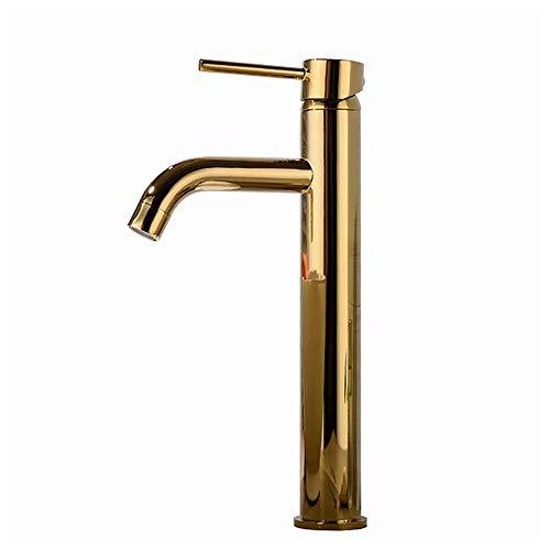ShiSyan De gama alta todo el cobre chapado en oro de la cuenca del grifo caliente y fría sobre el lavabo contrario grifo de lavabo Mezclador del grifo de ahorro de agua, a prueba de fugas, fácil de in
