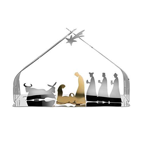 Alessi Bark Crib BM09 - Design Weihnachtskrippe Reproduktion mit goldenen Details, Edelstahl, Poliert