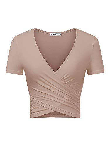 MSBASIC Crop Top Damen T-Shirt Bauchfrei V Ausschnitt Top Kurzarm Damen V Neck Shirt Hautton-Kurzarm Klein