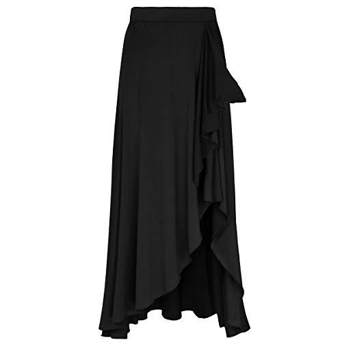 MSemis Falda Flamenco para Mujer Falda Larga Fiesta Cóctel Vintage Faldas Volantes Chica Falda Gitana Sevillana Ropa Bailarina Práctica Rendimiento Casual Playa Negro Small