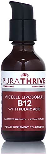 PuraTHRIVE Vitamin B12 Liquid with Fulvic Acid. Liposomal B12 in Methycobalamin Form for Maximum Absorption and Potency. Vegan Friendly, GMO Free, Made in USA