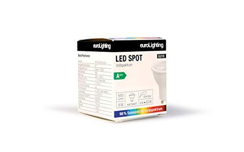 euroLighting LED Spot GU10 6W WarmWeiss 500lm mit Sonnenlichtspektrum/Vollspektrum, 3 Step Dimmbar