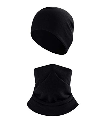 2Pcs Winter Beanie Hat Scarf Set for Men Women,Thermal Fleece Warm Skull Cap,Snow Gear Skiing Balaclava(Black)