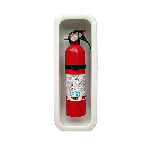 USAMADE RV and Marine Fire Extinguisher Box - Keep Your Boat and Family Safe with Reinforced, Recessed Fire Extinguisher Box - Clean Look Easy to Install and Clean (White)