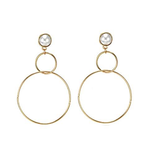 Pendientes de aro para niñas con forma de círculo grande y perlas vintage
