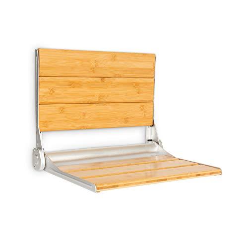 oneConcept Arielle Deluxe Duschsitz, Klappsitz, Sitzfläche & Lehne aus Bambus, Rahmen aus Aluminiumlegierung, max. Gewicht: 160 kg, inkl. Montagematerial, holz