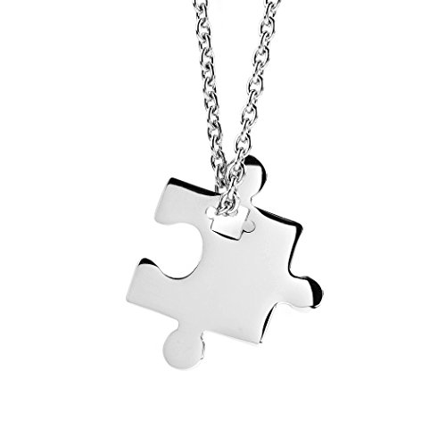 West Coast Jewelry | ELYA Stainless Steel Jigsaw Puzzle Piece Pendant with 18' Cable Chain