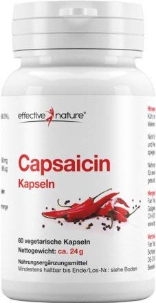 effective nature - Capsaicin aus Cayenne-Pfeffer - Konzentrierte Schärfe - Hochdosiert - 24000 Scoville Heat Units (SHU) - Perfekte Alternative zur Master-Cleanse-Diät - 60 Vegane Kapseln