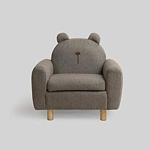 JYHJ Sofá para niños, diseño de dibujos animados para niños, de madera, tapizado, asiento cómodo para niños en edad preescolar, gris oscuro, 58 x 39 x 57 cm