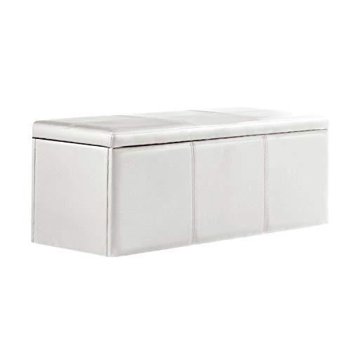 Adec - Universal, Baul, Banco, Puff de almacenaje, arcon elevable Acabado en símil Piel Color Blanco, Medidas: 120 cm (Largo) x 40 cm (Ancho) x 40 cm (Fondo)