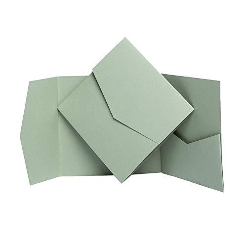 Pocketfold Invites Ltd Einladungskarten, matt, 144 x 144 mm, Salbeifarben Sage, Green