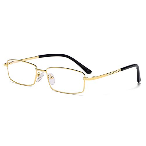 Titaniumlegering Lezing Glazen Mannelijke High Definition Lenzen Stevige Scharnieren En Comfortabel Neuskussens Optische Brillen,Gold,+ 1.50