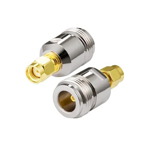Vecys RP-SMA Macho a Tipo N Hembra Adaptador RP-SMA Adaptador de Antena WiFi para WLAN Antena WiFi Exterior RPSMA Enrutador WLAN 4G WiFi Enrutador inalámbrico Bluetooth (2 Piezas)