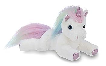 Bearington Lil  Rainbow Shimmers White Plush Stuffed Animal Unicorn Rainbow Mane 10 Inches
