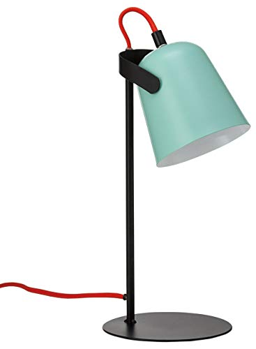 FISURA LT0744 Lampara Mesa Led Chloe Verde y Negra Multicolor 37cm Escritorio Estilo Retro Colores Mate Diseño Sobremesa