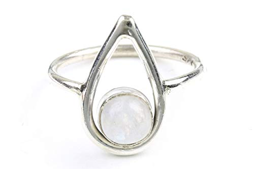 Luna Drop Ring, Sterling Silver Moonstone Ring, Stone Jewelry, Cosmic, Gemstone, Boho, Gypsy, Wiccan, Hippie, Spiritual, Minimalist -  WEARRAW
