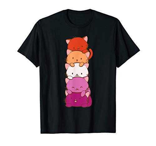 Orange Pink Lesbian Pride Flag Cute Kawaii Cat T-Shirt
