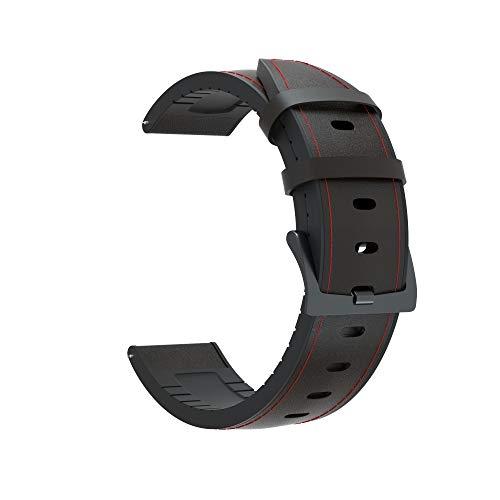 CMYYFA Correa de silicona de 22 mm y correa de cuero para Huawei Honor Magic Watch 2 para huami Amazfit Stratos 2 2S Smart Wriststrap (color de la correa: negro, ancho de la correa: Amazfit Stratos 3)