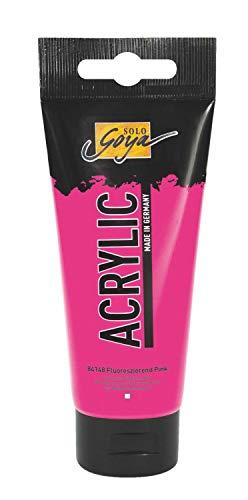 Kreul 84148 - Solo Goya Acrylic, Fluoreszierend Pink 100 ml Tube, cremige vielseitig einsetzbare Acrylfarbe in Studienqualität, auf Wasserbasis, schnell und matt trocknend, gut deckend, wasserfest