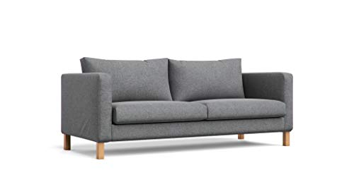 MastersofCovers 7 Colors Polyester Karlstad 3 Seat Sofa Cover for The IKEA Karlstad 3 Seater Sofa Slipcover Replacement-Dark Grey