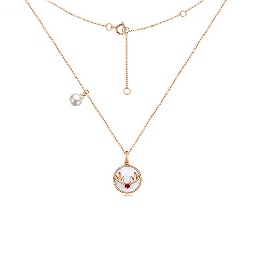 YJZW 18k Rose Gold Jewelry Pearl Deer Antler Pendant Necklace, Birthday Gifts For Women, Animal Handmade Jewelry Gift With