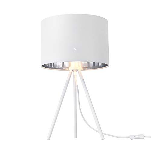 lux.pro Tischleuchte 'Metz' E14 Max. 40W Tripod Tischlampe mit Stoffschirm Nachttischlampe Weiß