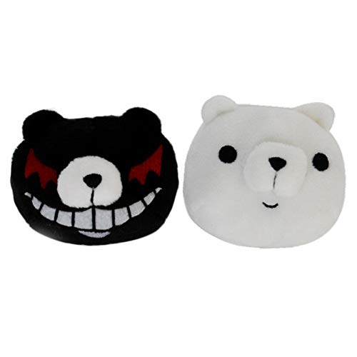 AMOLEY Danganronpa: Junko Enoshima Hair Clips,Japanese Anime Cosplay Head Accessories Black White Bears Best Gift for Fans
