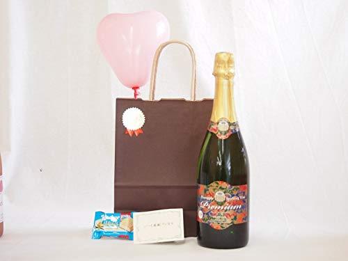 お誕生日 名護 パイナップルスパークリングワイン プレミアム 甘口750ml メッセージカード ハート風船 ミニチョコ付き