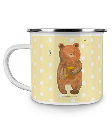 Mr. & Mrs. Panda Camping, bruchsicher, Camping Emaille Tasse Honigbär - Farbe Gelb Pastell