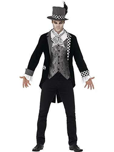 Halloweenia - Herren Männer Kostüm Hochwertiger dunkler Hutmacher mit Jackett vorgetäuschter Weste und Zylinder, Dark Mad Hatter, perfekt für Halloween Karneval und Fasching, XL, Schwarz