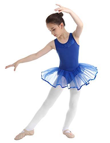 TiaoBug Maillot Vestido de Danza Ballet NiñaS (3-14 Años) Bodys Algodón Gimnasia con Tutú Deportes de Baile Infántil Bragas Incorporadas Azul 3-4 años
