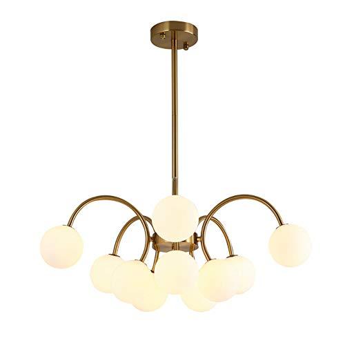 10-luces Sputnik Lámparas De Araña,Moderno G4 Geométrica Iluminación Colgante Con Sombra De Cristal Blanco,Salón Dormitorio LED Montaje Al Ras Plafón-Dorado. 60x28cm(24x11inch)