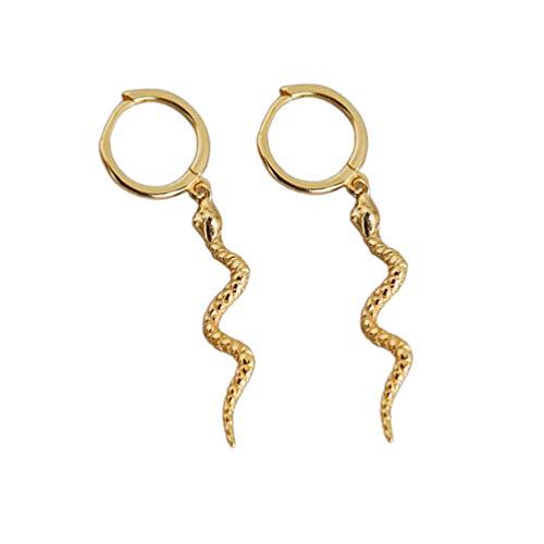 Happyyami 1 Paar Schlange Creolen Baumeln Huggie Ohrringe 925 Sterling Silber Ohrringe Schmuck für Frauen Dame (Golden)