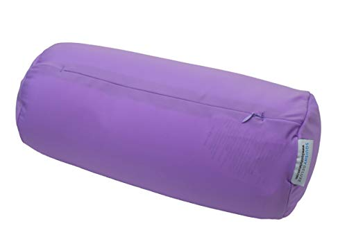 "Microbead Bolster Tube Pillow w/ Cushy, Stay-Cool Fill & Silky Smooth Removable Cover; Odorless & Hypoallergenic; Personalized Neck & Back Support, Soft, Flexible & Comfortable; 13 X 6""; Violet"