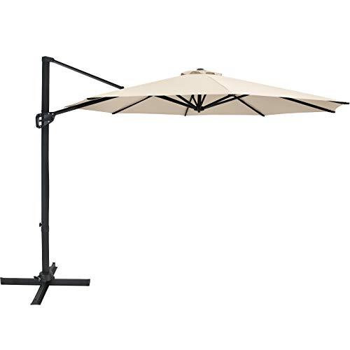 AXT SHADE 3M 10FT Sonnenschirm Außenschirm mit großem Ausleger, windabweisend mit Querbasis 8 robuste Rippen für den Gartendeck-Pool-Innenhof-Beige