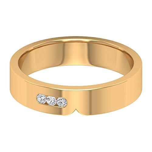 Anillo de 3 piedras de Moissanoite de 1,70 mm, anillo de oro apilable, anillo de oro de 10 quilates blanco