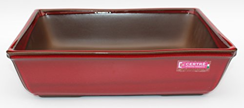 CERTRE Vase rectangulaire pour bonsaï Art.9001 – 24 x 18 x 7 (H) cm. Émail rouge neuf
