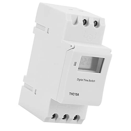 Temporizador programable de carril THC15A 220-240VAC Digital LCD temporizador interruptor para dispositivos automáticos práctica